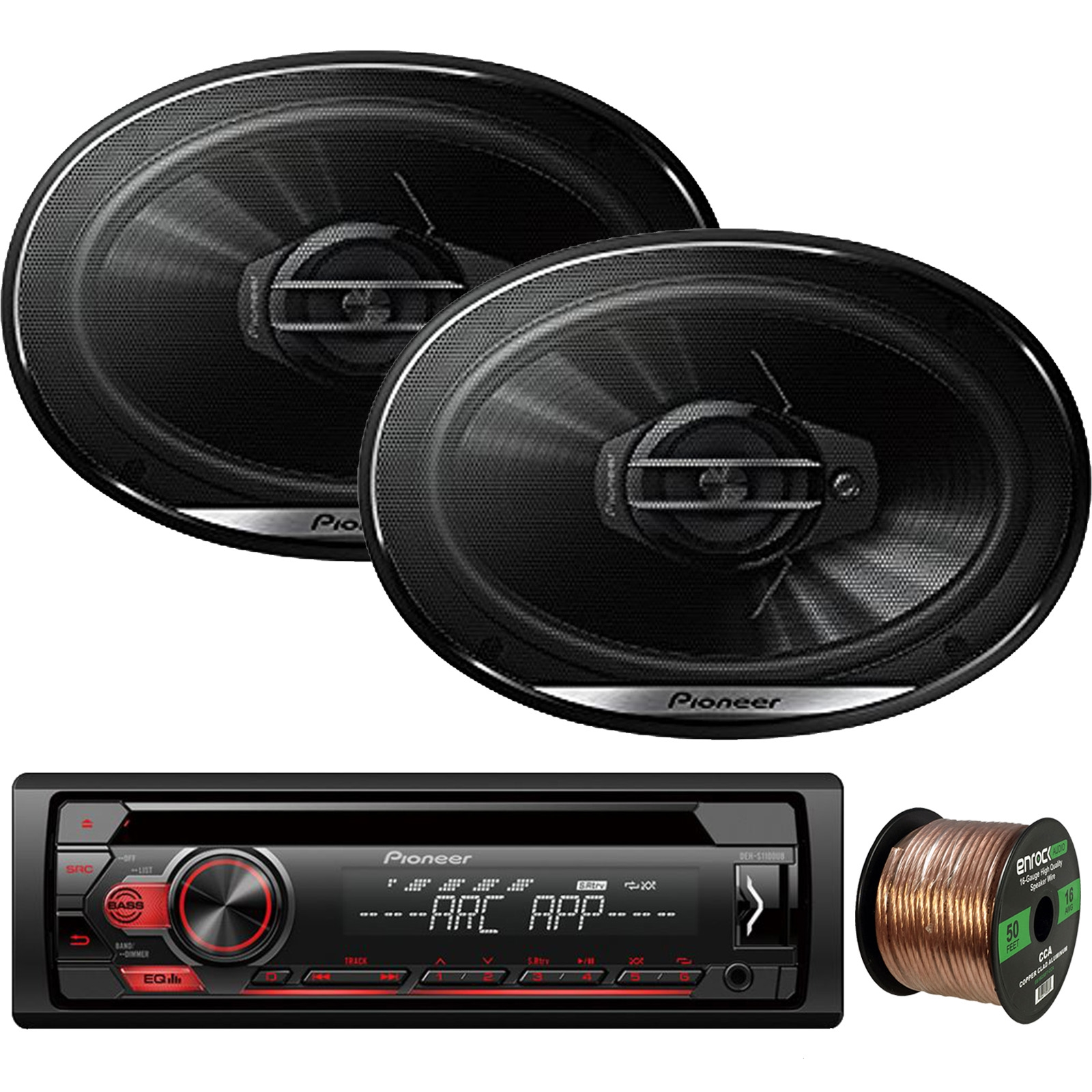 "Pioneer DEH-S1100UB Single-DIN CD Player AM/FM Car Stereo Receiver, 2 x Pioneer TS-G6930F 6x9"" 3-Way Coaxial 400W Max Car Speakers, Enrock Audio 16-Gauge 50Ft. CCA Speaker Wire"