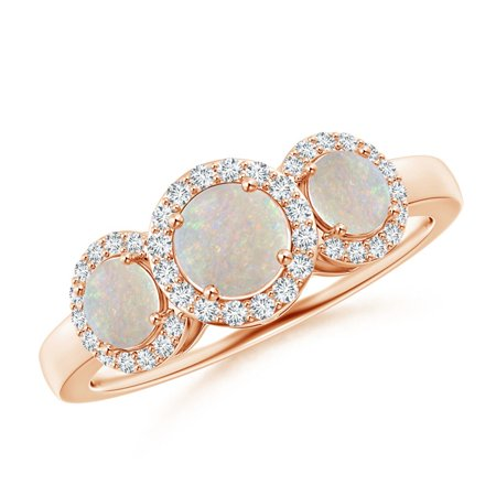 October Birthstone Ring - Round Opal Three Stone Halo Ring with Diamonds in 14K Rose Gold (5mm Opal) - SR0351OP-RG-AA-5-8.5