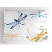 Dragonfly Pillow Sham Floral Spring Bugs Wings with Flower Petals Animal Nature Themed Artful Motif, Decorative Standard Size Printed Pillowcase, 26 X 20 Inches, Multicolor, by Ambesonne