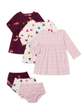 Wonder Nation Baby Girl Long Sleeve Knit Dress & Diaper Cover, 3-Pack