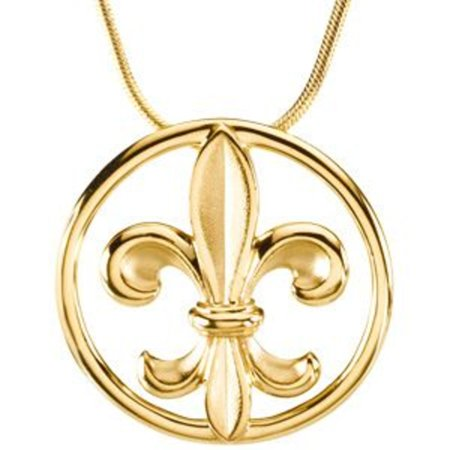 Fleur de lis pendant on an 18 snake chain in 14k yellow gold fleur de lis pendant on an 18 snake chain in 14k yellow gold aloadofball