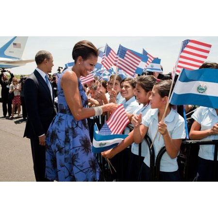 - President And Michelle Obama Greet Children During The Arrival Ceremony At Comalapa International Airport In San Salvador Michelle Wears A Printed Jason Wu Dress Accessorized With An Alexis Bittar Pin