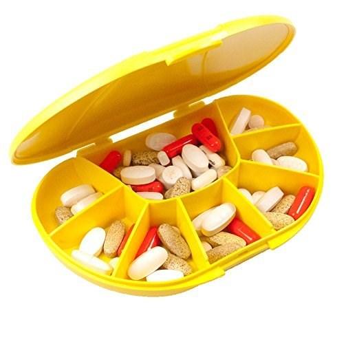 VitaCarry 8 Compartment Travel Vitamin Organizer - White