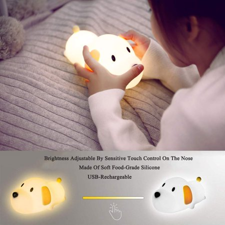 LED Night Light for Kids, Silicone Puppy LED Lamp with Sensitive Touch Control, Baby Nursery Lamp with Warm/Cool White Dual Modes - USB Rechargeable, Brightness Adjustable, Timing Function - image 3 de 6