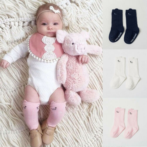 Hot Newborn Toddler Knee High Sock Baby Boy Girl Socks Anti Slip Cute Cat S-M UQ