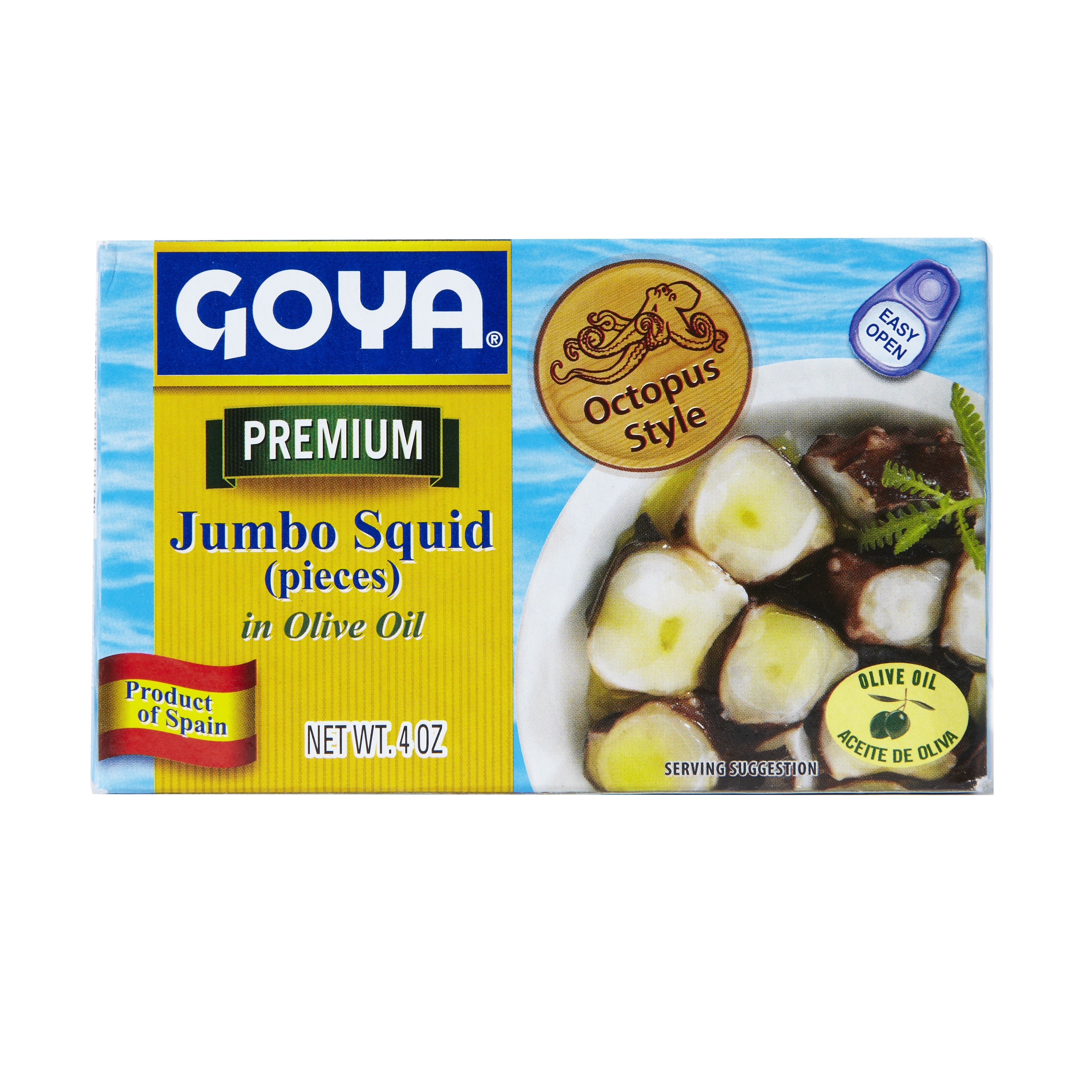 Goya Jumbo Squid Pieces in Olive Oil, 4 Oz Can, 25 Count