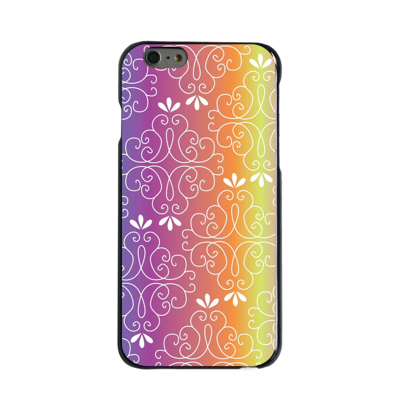 "CUSTOM Black Hard Plastic Snap-On Case for Apple iPhone 6 PLUS / 6S PLUS (5.5"" Screen) - Blue Purple Orange Yellow Pink Gradient"