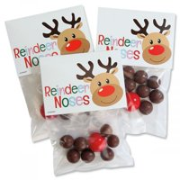 Reindeer Noses Treat Bags and Toppers- Set of 24 Christmas Treat Bags And toppers