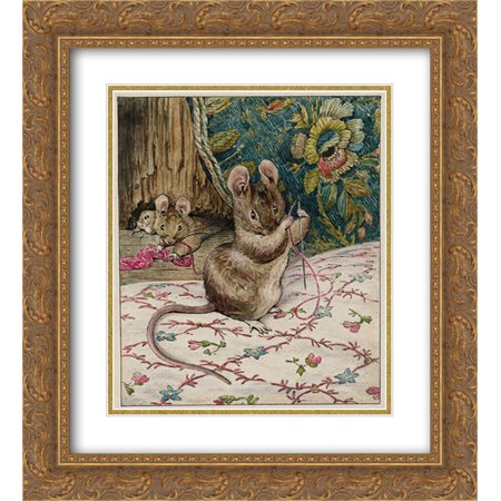 Beatrix Potter 2x Matted 20x24 Gold Ornate Framed Art Print 'The Mice at Work.Threading the Needle (The Cowsills Silver Threads And Golden Needles)