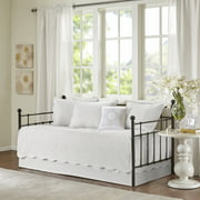 Home Essence Genoa 6 Piece Reversible Scalloped Edge Daybed Cover Set, White