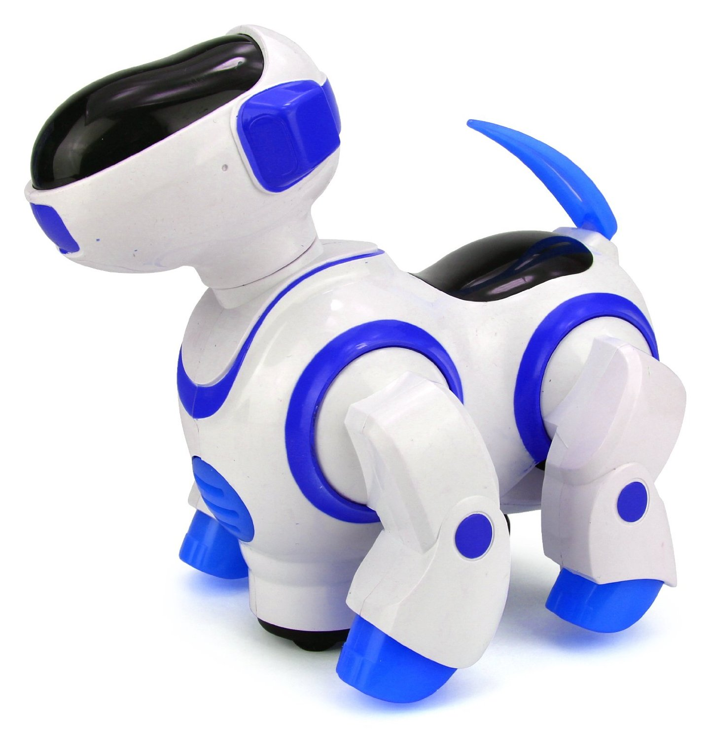 Robo Dancing Dog Battery Operated Kid's Bump and Go Toy w/ Wagging Head, Legs, & Tail, Fun Flashing Lights, Sounds (Blue)