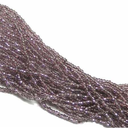 Amethyst Beads String (Czech 11/0 Glass Seed, Loose Beads, 1-6 String Hank Preciosa Silver Lined Lt Amethyst )