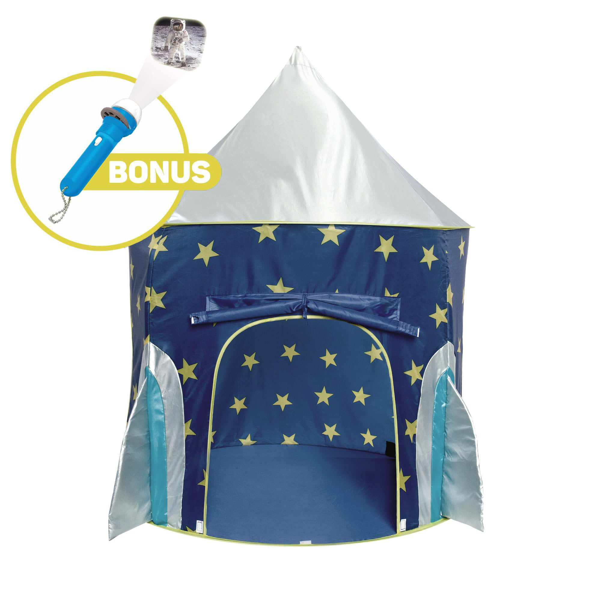 Rocket Ship Play Tent Spaceship Playhouse with Bonus Space Torch Projector Toy by USA Toyz