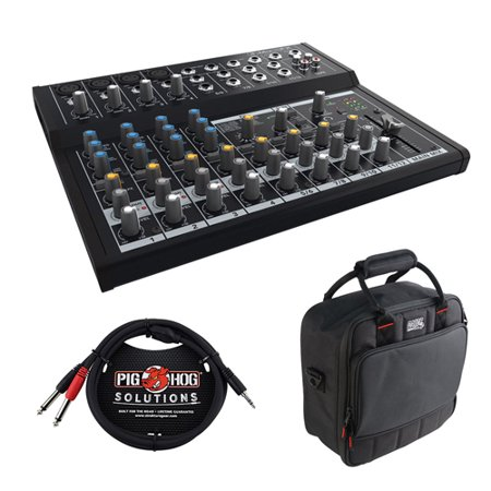 Mackie Mix12FX 12-Channel Compact Mixer with G-MIXERBAG-1212 Padded Nylon Mixer Bag & PB-S3410 3.5 mm Stereo Breakout Cable, 10 feet Bundle Mackie Powered Mixer Bag