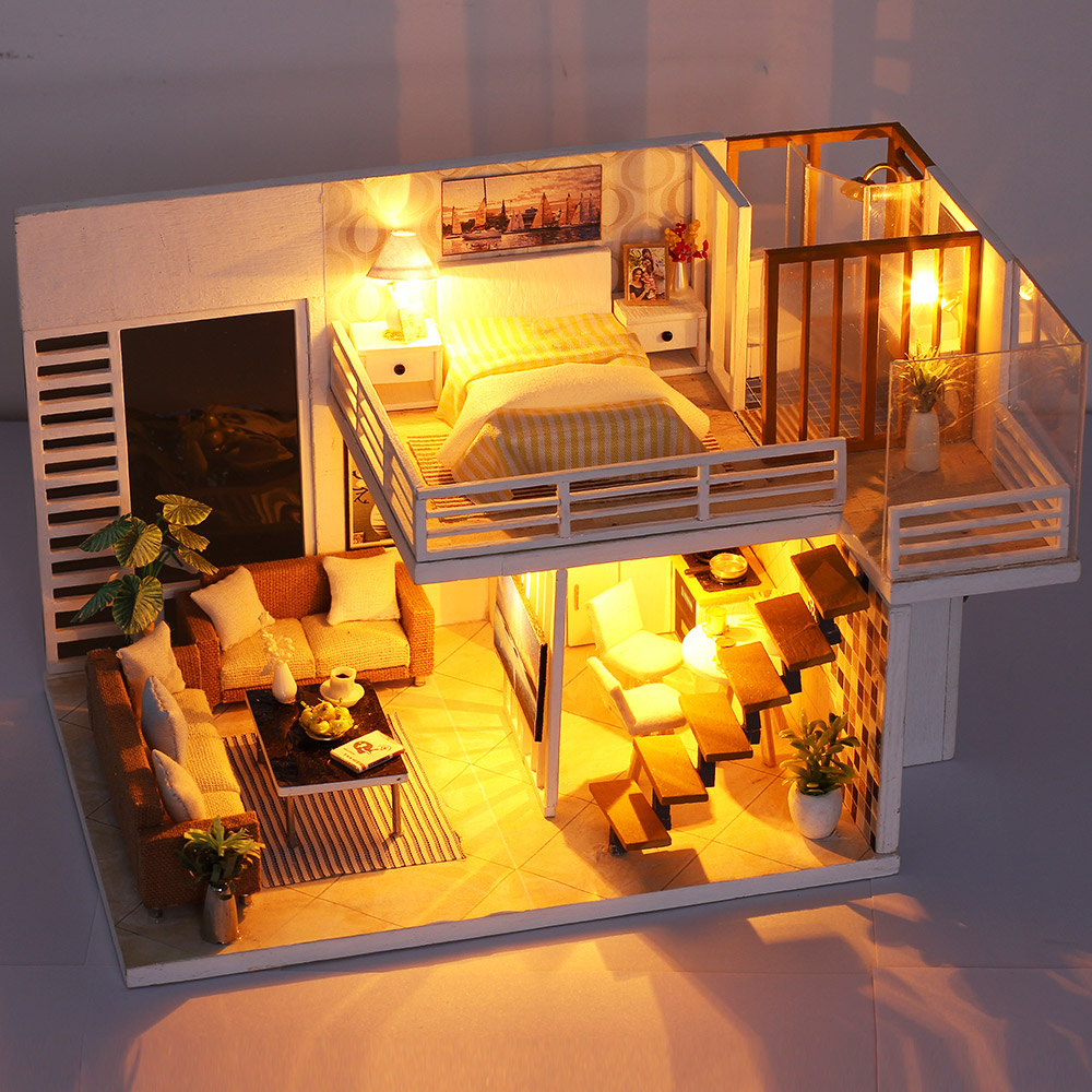 Furniture Gift Music DIY Dollhouse Miniature Kit Simple House w// LED Light
