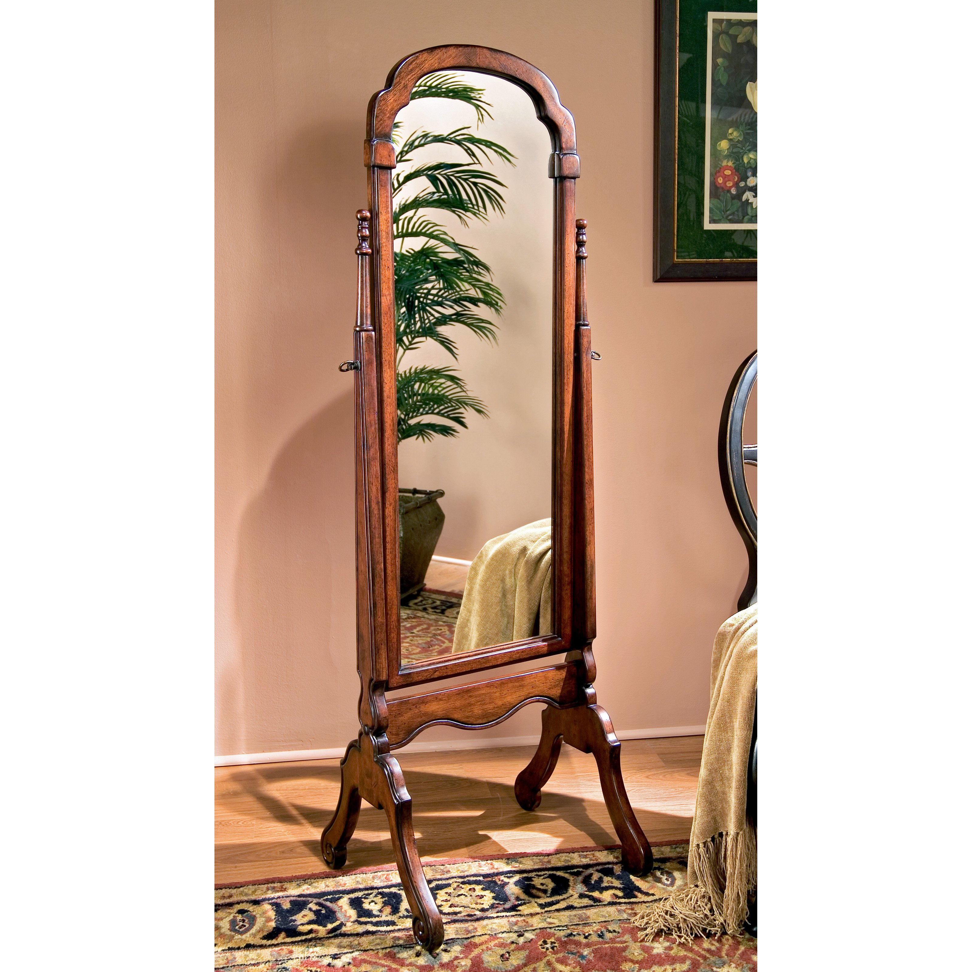 Rich Cherry Traditional Detailed Cheval Mirror - 15W x 60H in.