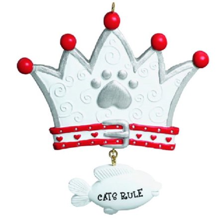 Cats Rule Crown with Fish Christmas Tree Ornament Cat Pet Decoration Kitten New - Christmas Crowns