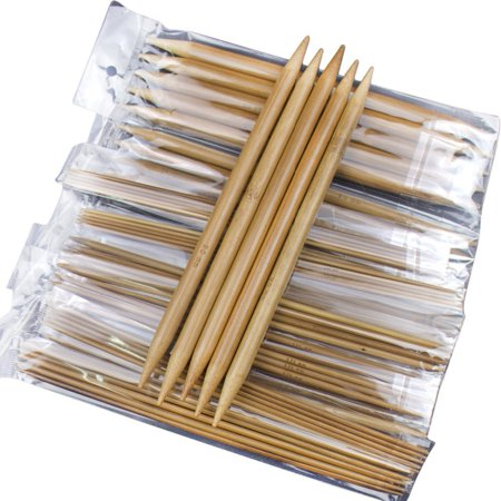 5 Sets of 15 Sizes 8`` (20cm) Double Pointed Carbonized Bamboo Knitting Kits Needles Set (2.0mm - 10.0mm) (8 Double Pointed Bamboo Needles)