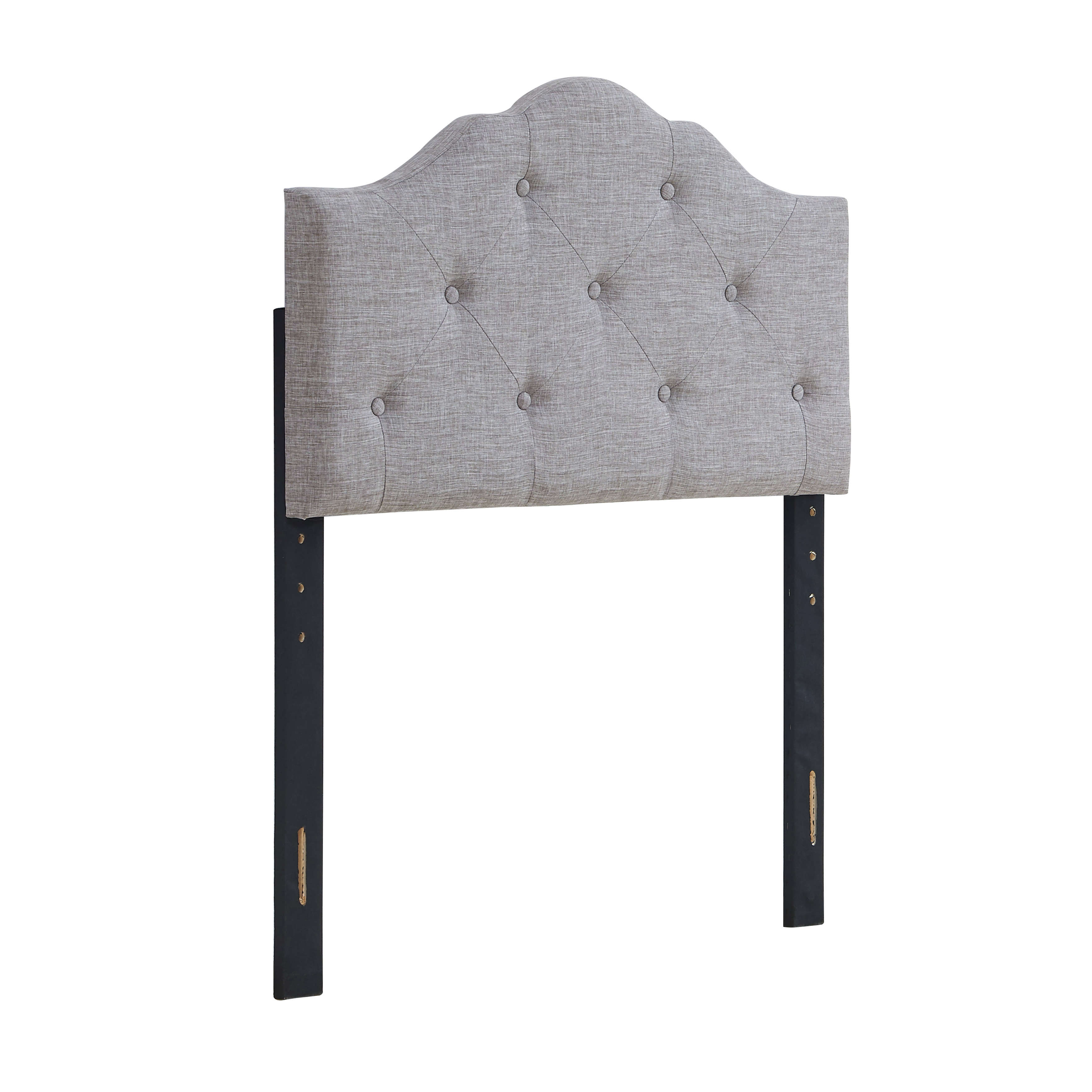Mainstays Upholstered Tufted Rounded Headboard, Grey, Multiple Sizes by DHI