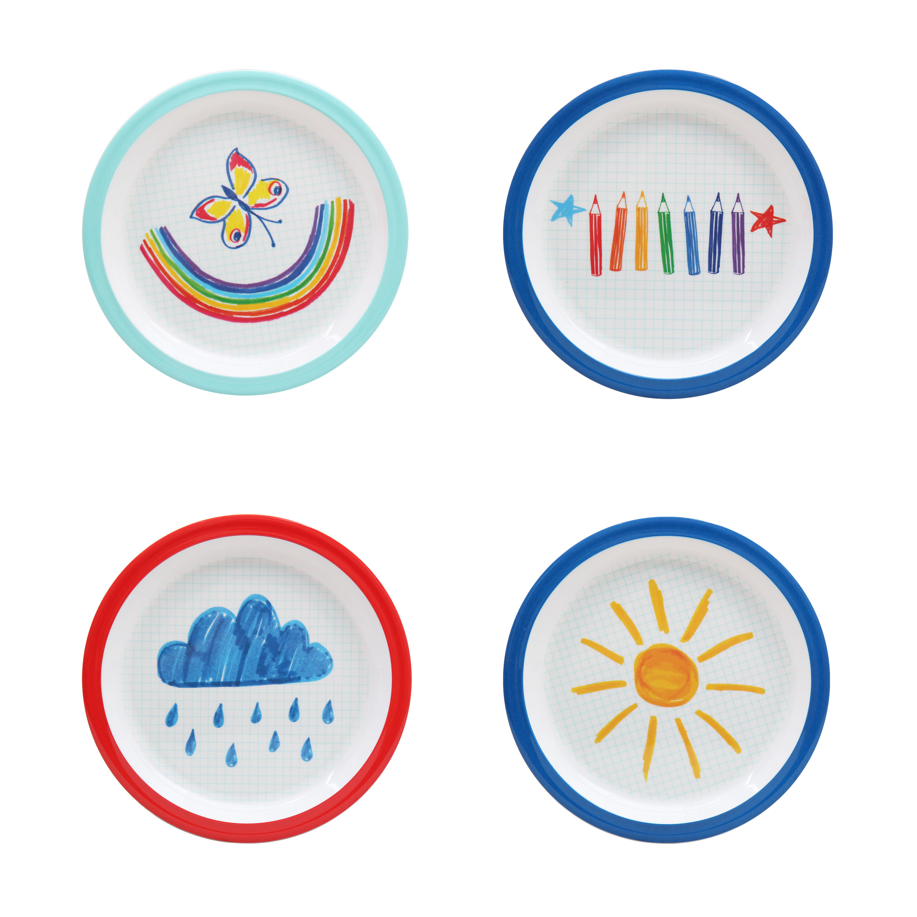 Mainstays Kids 4 Pack Melamine Plate, Multiple Prints
