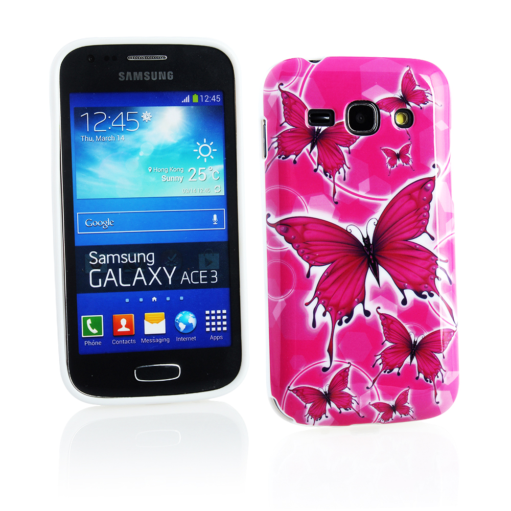 KMO Samsung Galaxy Ace 3 S7272 S7275 Cover Case [Shock Absorbing] [Thin Fit] Soft TPU Gel Skin Protection - Pink Butterflies