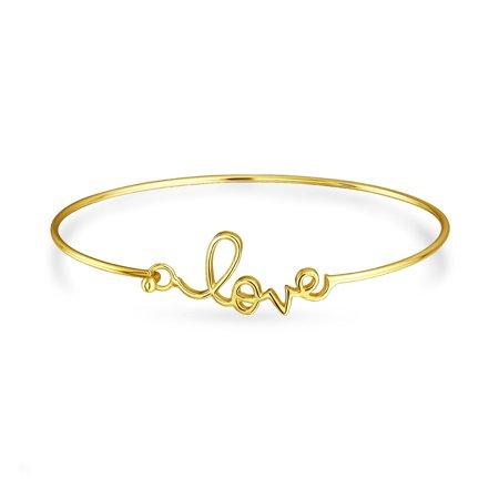 Love Message Cursive Word Bangle Cuff Bracelet For Women For Girlfriend High Polish 14K Gold Plated 925 Sterling - Message Bracelets