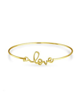ba3a6e66fbf62 Product Image Love Message Cursive Word Bangle Cuff Bracelet For Women For Girlfriend  High Polish 14K Gold Plated