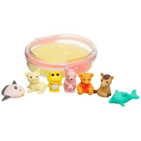 Iwako Japanese Eraser Set Animals and Sea Life Erasers (Yellow Case)