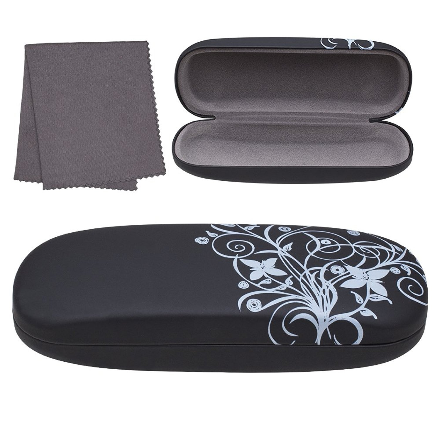 Hard Shell Eyeglass Case For Sunglasses Reading Eyeglasses And Most Eyewear Includes Cleaning Cloth Glasses Case