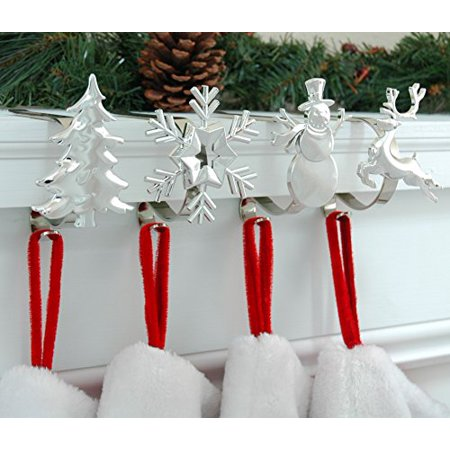 Haute Decor The Original MantleClip Stocking Holder with Removable Holiday Icons, Silver 4-pack (Assorted Icons) ()