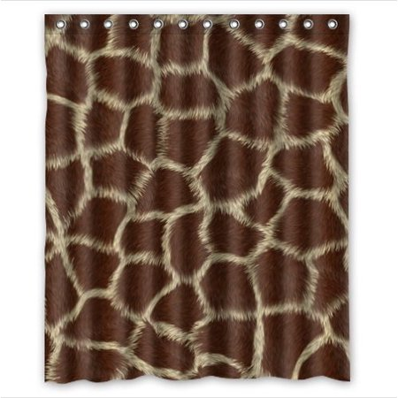 GreenDecor Giraffe Skin Animal Print Waterproof Shower Curtain Set with Hooks Bathroom Accessories Size 60x72 inches