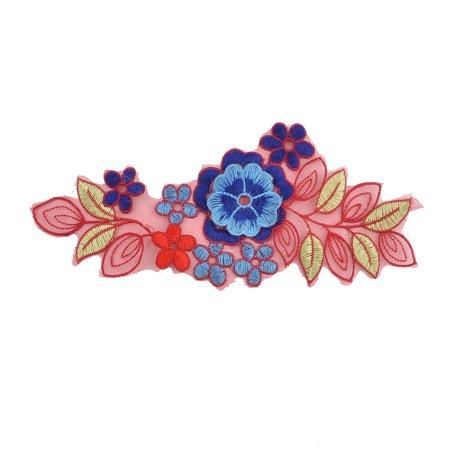 Unique Bargains Polyester Flower Shape Embroidery Clothes Sewing Patch Decor Lace Applique -