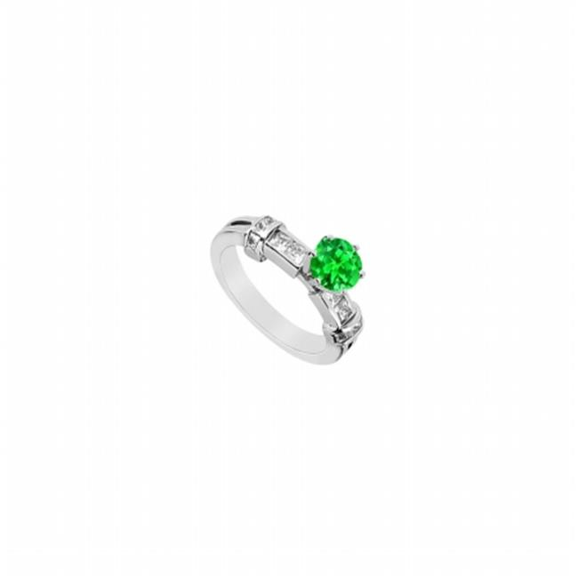 FineJewelryVault UBUJ1103W14CZE Frosted Emerald Prong Set...