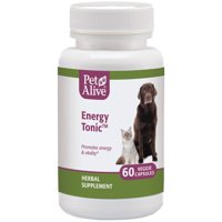 PetAlive Energy Tonic  - All Natural Herbal Supplement Promotes Energy and Vitality in Cats and Dogs Including Older Pets - 60 Veggie Caps