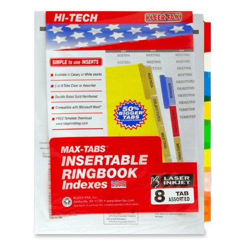 Kleer-Fax, Inc. Insertable Index Dividers,3HP,8-Tab,18/ST,Assorted Tabs (Set of 5)