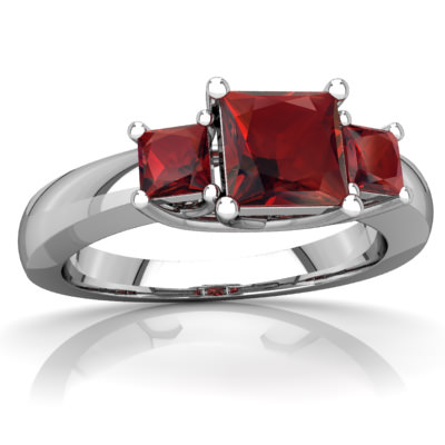 Garnet Three Stone Trellis Ring in 14K White Gold by