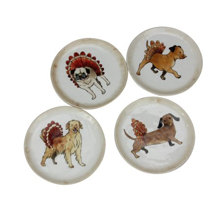 Set of 4 Ivory Autumn Thanksgiving Puppy Dog Snack Plates