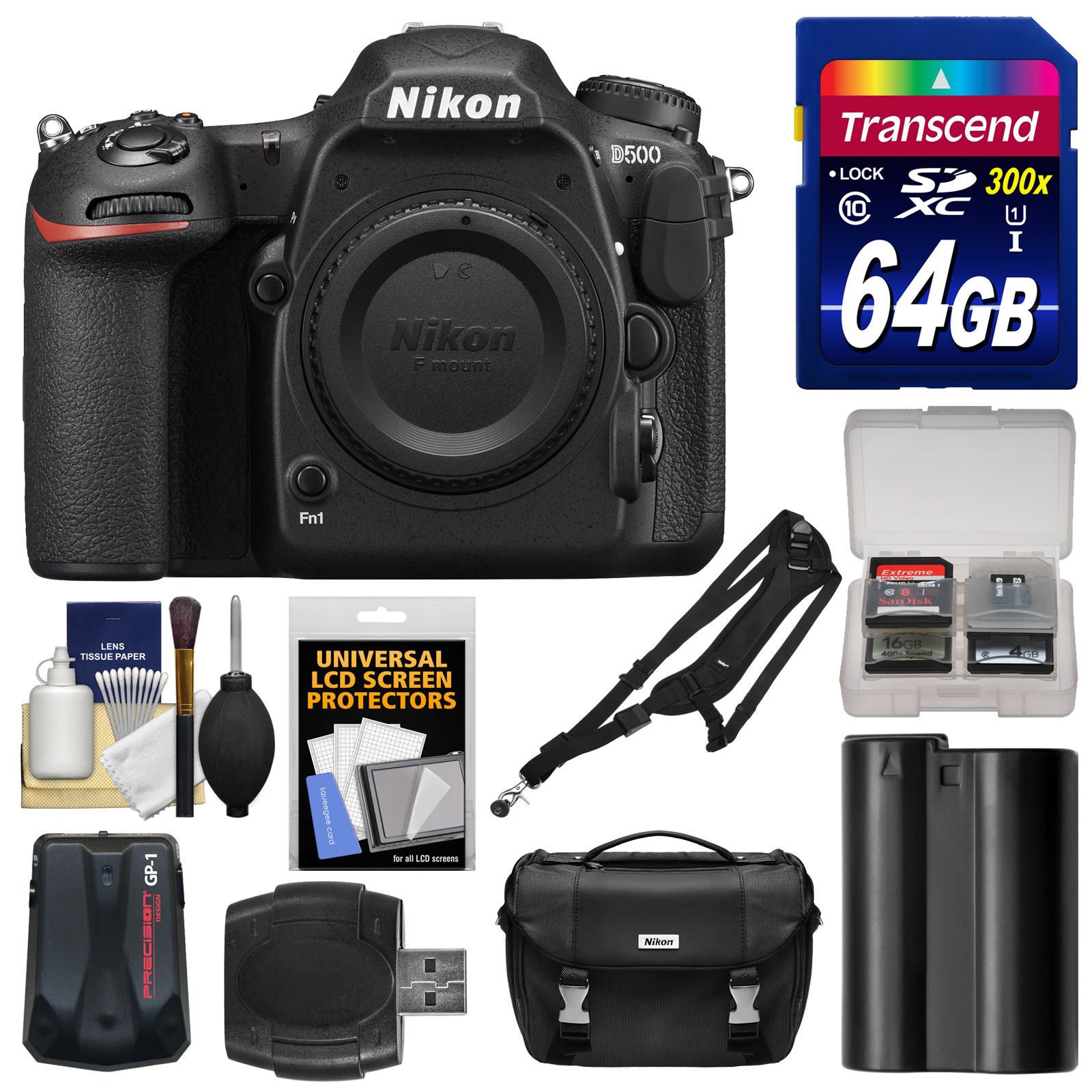 Nikon D500 Wi-Fi 4K Digital SLR Camera Body with 64GB Card + Case + Battery + Strap + GPS Adapter + Kit by Nikon