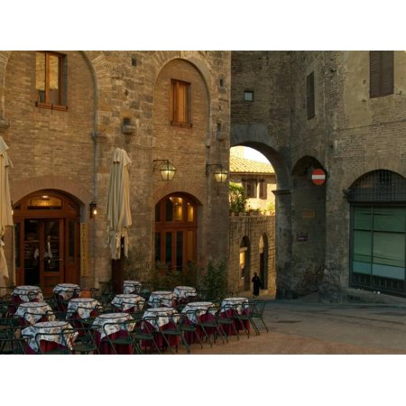 Restaurant in a Small Piazza, San Gimignano, Tuscany, Italy Print Wall Art By Janis