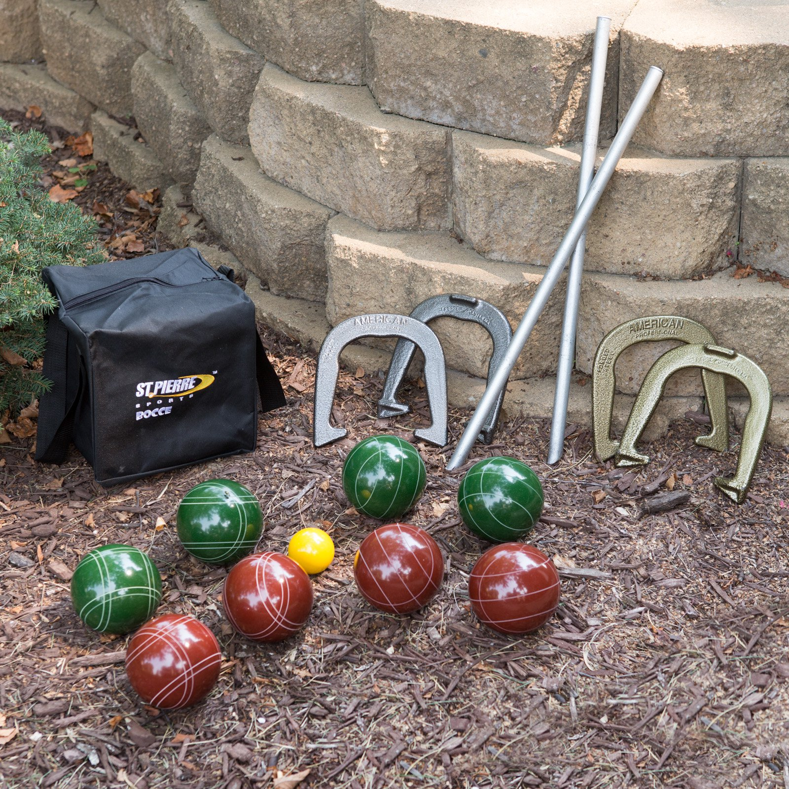 St. Pierre Tournament 107mm Bocce and Horseshoe Package