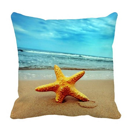 ZKGK Beach Theme Pillowcase Home Decor Pillow Cover Case Cushion Two Sides 18x18 Inches (Home Decor Themes)