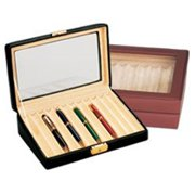 500432-1 Leather 12 Pen Box With Glass Top - Black