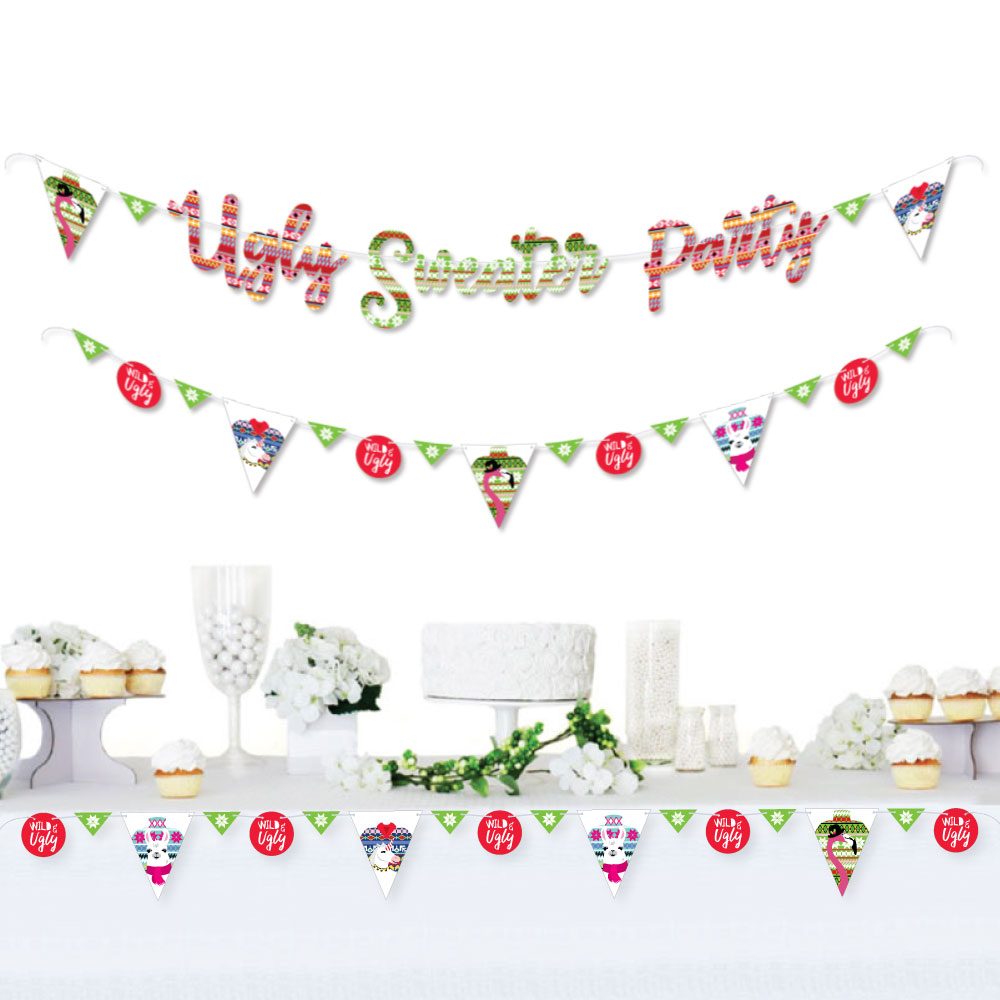 Wild and Ugly Sweater Party - Holiday & Christmas Animals Party Decor - 36 Cutouts & Ugly Sweater Party Banner Letters