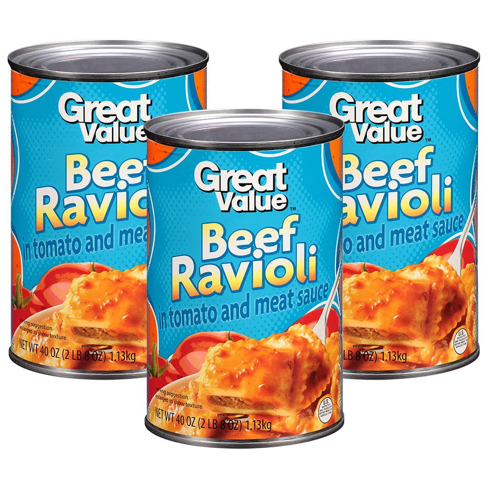 (3 Pack) Great Value Beef Ravioli Pasta, 40oz