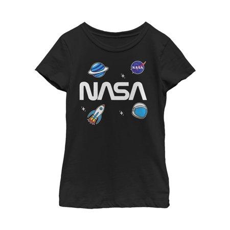 Nasa Logo Space Emoji Girls Graphic T Shirt