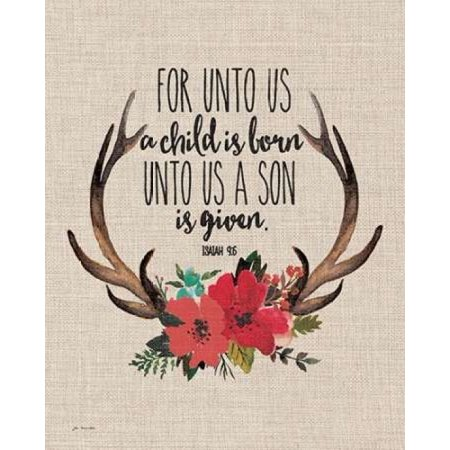 Us Antlers - Unto Us Antlers - Linen Poster Print by Jo Moulton
