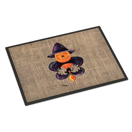 Halloween Pumpkin Bat Fleur de lis Door Mat Doormat - Halloween Welcome Mat
