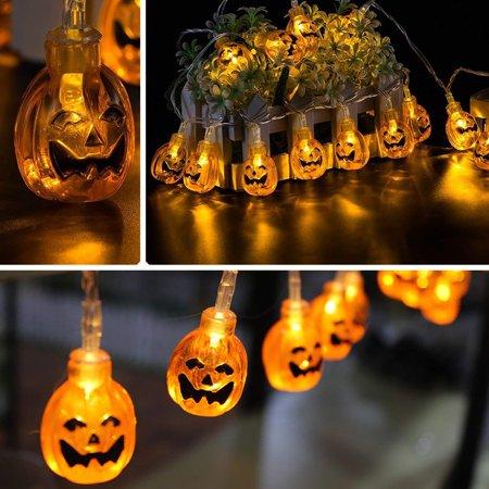 Pumpkin String Lights 6 5ft 20leds Jack O Lantern Funny Face Led Battery Ed For Holiday Decorations Warm Whit