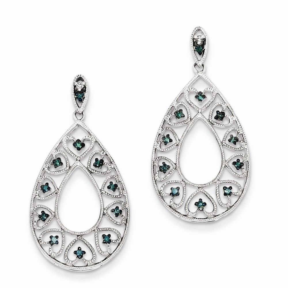 925 Rhodium Flashed Silver Diamond and Blue Diamond Hearts and Flowers Drop Earrings - (0.144cttw)