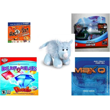Children's Gift Bundle [5 Piece] - Nab-It! - Kidz Tech The Stunt Copter  Aerobatics Helecopter - Webkinz Rhino - Bejeweled 2 With Peggle Windows or  MAC